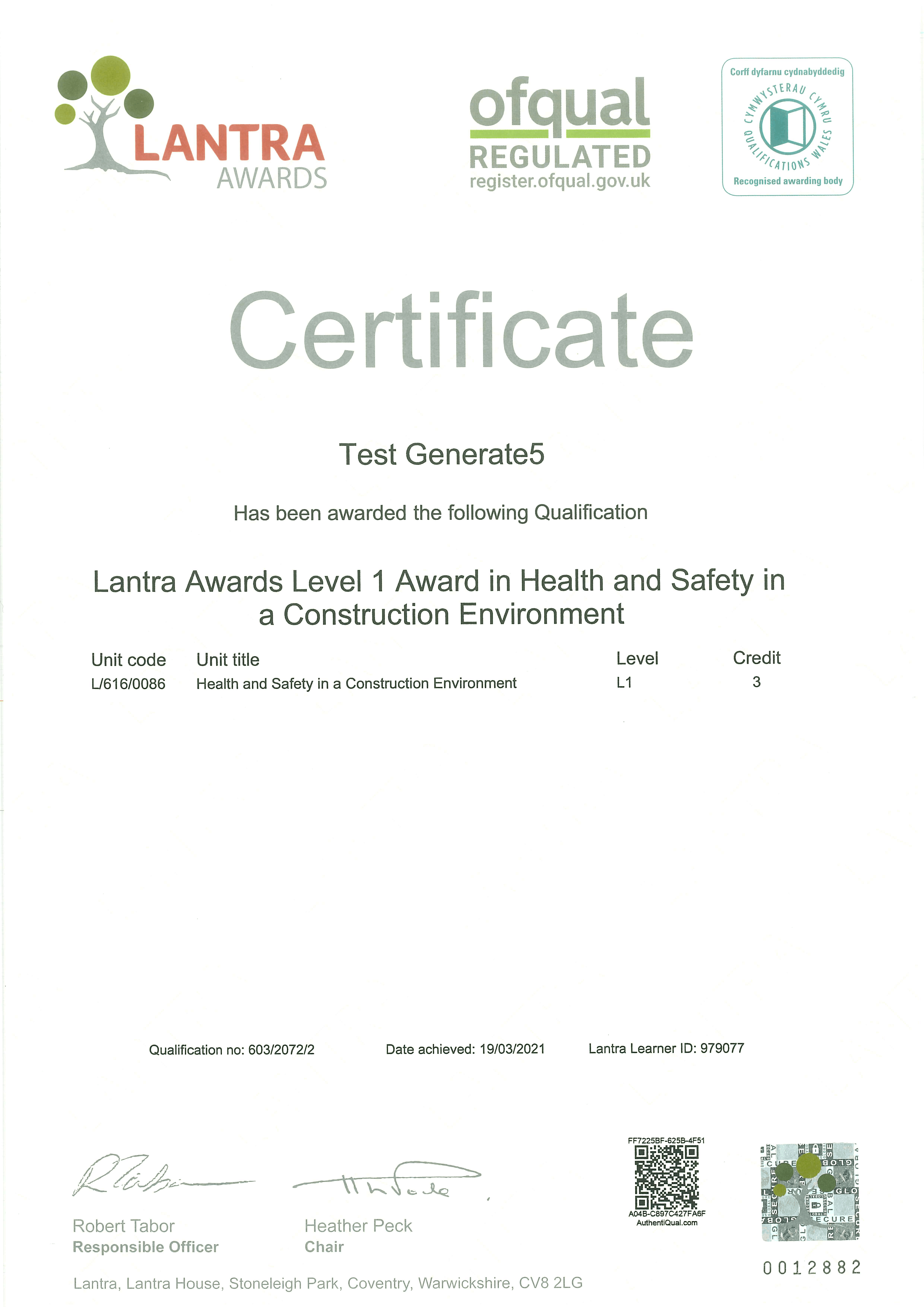Level 1 Health and Safety in a Construction Environment Certificate